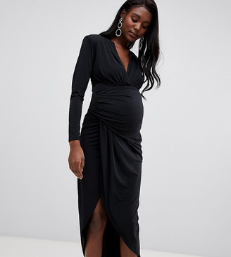 Queen Bee wrap front maxi dress in black