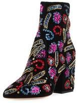 Loeffler Randall Isla Sequin-Embroidered Block-Heel Bootie