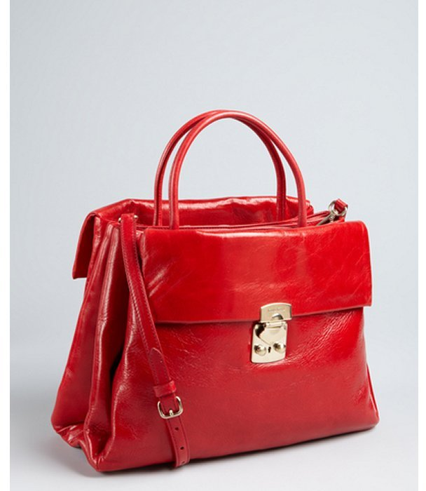 Miu Miu Firetruck Red Grained Leather Expanding Convertible Satchel