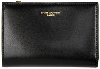 Saint Laurent Black Bifold Zip Wallet