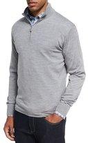 Peter Millar Collection Merino Wool-Silk Quarter-Zip Sweater, Charcoal