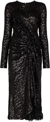 Preen by Thornton Bregazzi Farra gathered sequin midi dress
