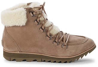 Sorel Harlow Sherpa-Trimmed Leather Booties