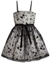 Un Deux Trois Girl's Flocked Floral Dress