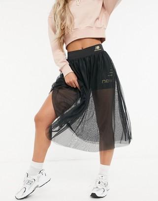New Balance tulle skirt with legging short in black