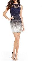 B. Darlin Foil Dipped Lace Sheath Dress