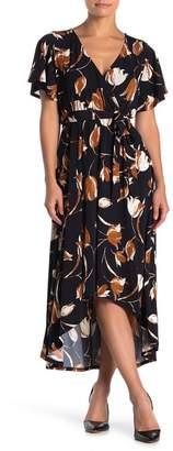 WEST KEI Flutter Sleeve Printed Wrap Dress
