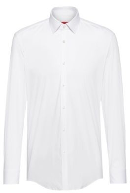 HUGO BOSS Slim Fit Shirt In Stretch Cotton Blend Canvas - White