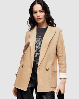 Topshop Raw Edge Jersey Double-Breasted Blazer