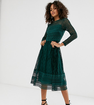 Asos Tall DESIGN Tall Premium lace midi skater dress-Green