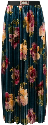 COOL T.M Floral Print Velvet Pleated Skirt