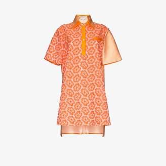Shuting Qiu contrast panel silk dress