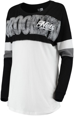 New Era Women's White/Black Brooklyn Nets Baby Jersey Contrast Long Sleeve Crew Neck T-Shirt