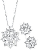 Charter Club Silver-Tone Crystal Baguette Pendant Necklace and Earrings Set, Only at Macy's