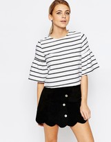 Fashion Union Stripe Top With Fluted Sleeve