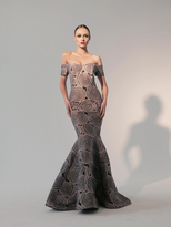 Nicole Bakti 589 Off Shoulder Rosette Mermaid Gown