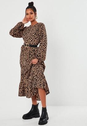 Missguided Brown Leopard Print Ruffle Hem Midi Smock Dress