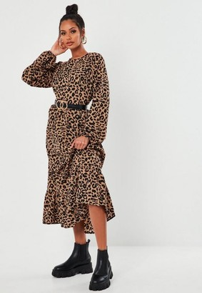 Missguided Leopard Print Ruffle Hem Midi Smock Dress