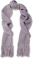 Rag & Bone Devin Fringed Ribbed Wool-blend Scarf - Purple