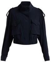 Norma Kamali Cargo Pocket Stretch-jersey Jacket - Womens - Navy