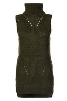 Quiz Khaki Roll Neck Sleeveless Knitted Jumper