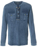 Balmain Lace-up Long-sleeve Shirt - Blue - Size XXL