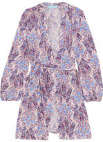 Melissa Odabash Kiera Printed Jersey Wrap Mini Dress - Purple