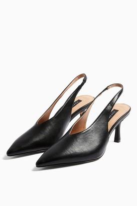 Topshop Womens Jessie Black Point Slingback Heels - Black