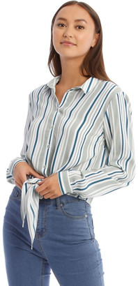 Miss Shop Tie Front Long Sleeve Shirt