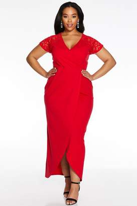 Quiz Curve Red Lace Sleeve Maxi Dress