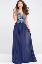 Jovani Embroidery Bodice Plunging Neckline Dress JVN47781