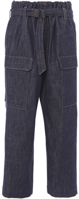 Brunello Cucinelli Bead-embellished Belted High-rise Straight-leg Jeans