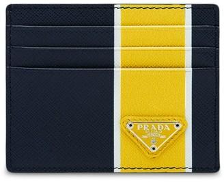 Prada Saffiano tri-stripe cardholder