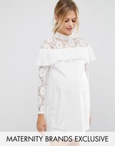 Queen Bee Shift Dress With Lace And Ruffle Detail