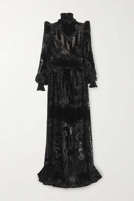 Balmain Shirred Devore-chiffon Gown - Black
