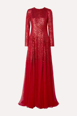 Oscar de la Renta Sequined Silk-chiffon Gown - Red
