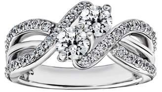 Diamonique 1.55 cttw Double Bypass Ring, Platinum Clad