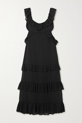 Zimmermann Ruffled Chiffon And Lace-trimmed Swiss-dot Crepe Midi Dress - Black