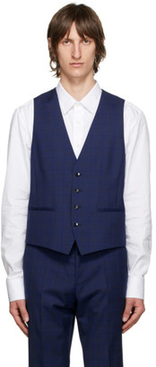 HUGO BOSS Blue Check Wool Vest