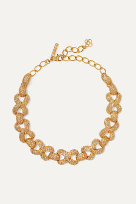 Oscar de la Renta Gold-tone And Crystal Necklace