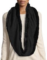 La Fiorentina Fur-Trim Cashmere & Wool Infinity Scarf, Black