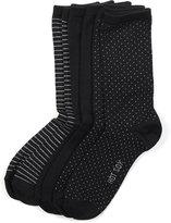 Hot Sox Women's Comfort Polka Dot Trouser 3 Pack Socks