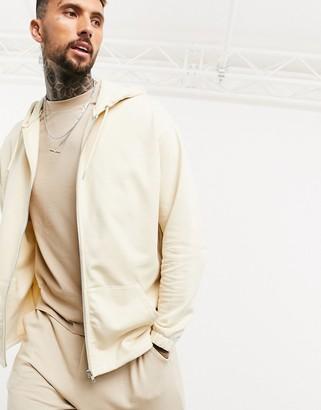 ASOS DESIGN organic oversized zip hoodie with fixed hem in beige