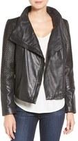 LAMARQUE Basket Weave Detail Lambskin Leather Jacket