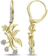 Laura Ashley White Sapphire and and Diamond Accented Yellow Silver Dangle Earrings