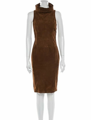Ralph Lauren Purple Label Suede Knee-Length Dress Purple