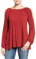 Bobeau Women's Cold Shoulder Plisse Blouse