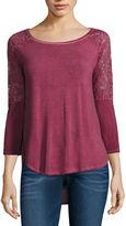 Arizona Lace Sleeve T-Shirt-Juniors