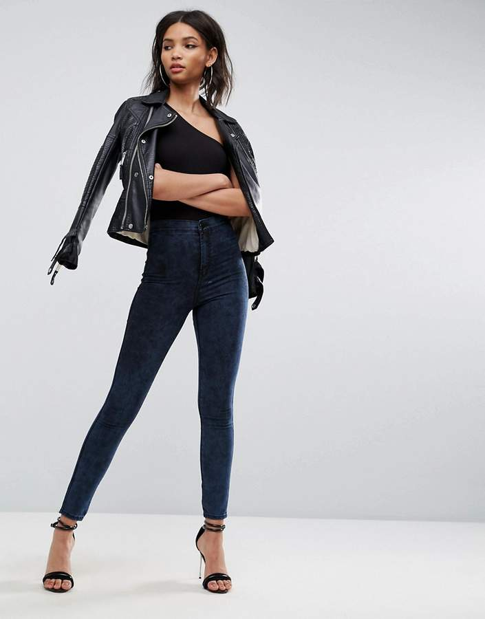Asos RIVINGTON High Waisted Jeans in Bennie Blackened Mottled wash