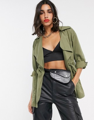 Stradivarius short trench coat in khaki